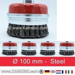 Topfbürste Stahldraht gezopft gerade Form Ø 100 mm 5 Stück