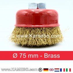 Brosse boisseau à fils de laiton ondulés  Ø 75 mm