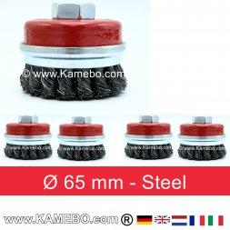Topfbürste Stahldraht gerade Form gezopft Ø 65 mm 5 Stück