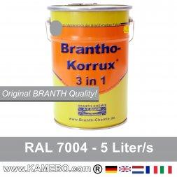 BRANTHO-KORRUX 3 in 1 Metallschutzlack / Korrosionsschutzlack RAL 7004 Signalgrau 5 Liter