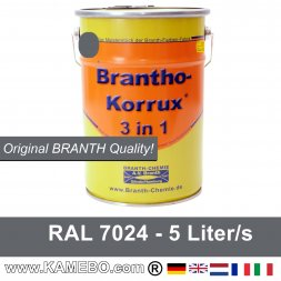 BRANTHO-KORRUX 3 in 1 Metallschutzlack / Korrosionsschutzlack RAL 7024 Graphitgrau 5 Liter
