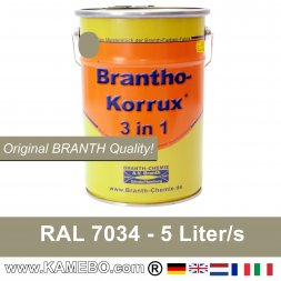 BRANTHO-KORRUX 3in1 Metal Protection Coating RAL 7034 Yellow grey 5 Litres