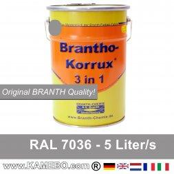 BRANTHO-KORRUX 3 in 1 Metallschutzlack / Korrosionsschutzlack RAL 7036 Platingrau 5 Liter