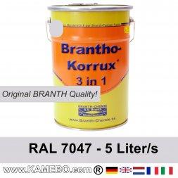 BRANTHO-KORRUX 3 in 4 Metallschutzlack / Korrosionsschutzlack RAL 7047 Telegrau 4 5 Liter