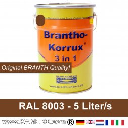 BRANTHO-KORRUX 3in1 Rostschutzfarbe RAL 8003 Lehmbraun 5 Liter