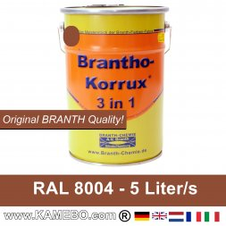 BRANTHO-KORRUX 3in1 Anti-Rust Coating RAL 8004 Copper brown 5 Litres