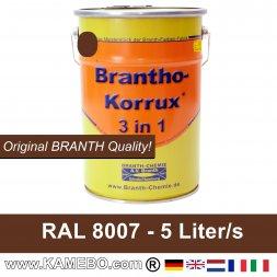 BRANTHO-KORRUX 3in1 Rostschutzfarbe RAL 8007 Rehbraun 5 Liter