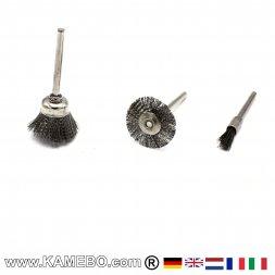 Stahldrahtbürsten 3 mm für Rotationswerkzeuge 3 Teile