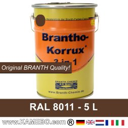 BRANTHO-KORRUX 3 in 1 Metallschutzlack / Korrosionsschutzlack RAL 8011 Nussbraun 5 Liter
