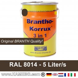 BRANTHO-KORRUX 3in1 Anti-Rust Coating RAL 8014 Sepia brown 5 Litres