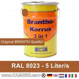 BRANTHO-KORRUX 3 in 1 Metaal Beschermingsverf RAL 8023 Oranjebruin 5 Liter