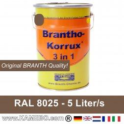 BRANTHO-KORRUX 3 in 1 Metallschutzlack / Korrosionsschutzlack RAL 8025 Blassbraun 5 Liter