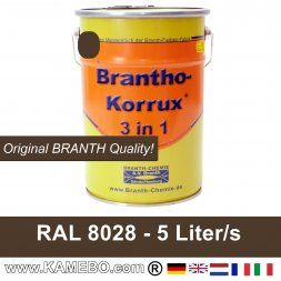 BRANTHO-KORRUX 3in1 Anti-Rust Coating RAL 8028 Terra brown 5 Litres