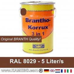 BRANTHO-KORRUX 3in1 Rostschutzfarbe RAL 8029 Perlkupfer 5 Liter