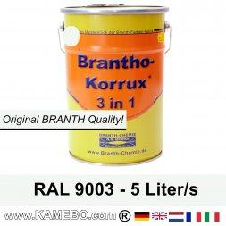 BRANTHO-KORRUX 3 in 1 Metallschutzlack / Korrosionsschutzlack RAL 9003 Signalweiß 5 Liter