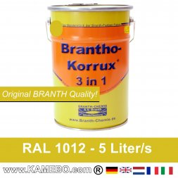 BRANTHO-KORRUX 3in1 Metal Protection Coating RAL 1012 Lemon yellow 5 Litres