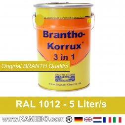 BRANTHO-KORRUX 3in1 Rostschutzfarbe RAL 1012 Zitronengelb 5 Liter