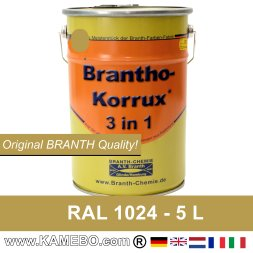 BRANTHO-KORRUX 3in1 Peinture Antirouille RAL 1024 Jaune ocre 5 Litres