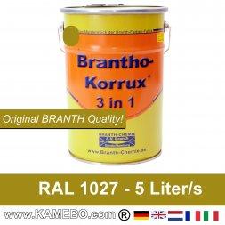 BRANTHO-KORRUX 3 in 1 Metallschutzlack / Korrosionsschutzlack RAL 1027 Currygelb 5 Liter