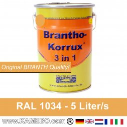 BRANTHO-KORRUX 3in1 Anti Roest Lakverf RAL 1034 Pasteelgeel 5 Liter