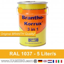 BRANTHO-KORRUX 3in1 Anti-Rust Coating RAL 1037 Sun yellow 5 Litres