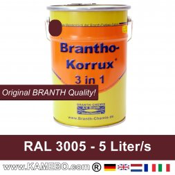 BRANTHO-KORRUX 3in1 Anti Roest Lakverf RAL 3005 Wijnrood 5 Liter