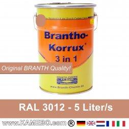 BRANTHO-KORRUX 3 in 1 Metallschutzlack / Korrosionsschutzlack RAL 3012 Beigerot 5 Liter