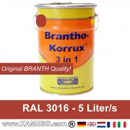 BRANTHO-KORRUX 3in1 Vernice Antiruggine RAL 3016 Rosso corallo 5 Litri
