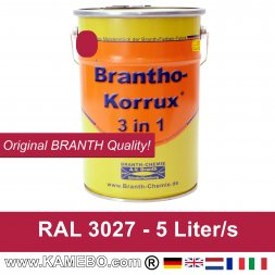 BRANTHO-KORRUX 3in1 Anti-Rust Coating RAL 3027 Raspberry red 5 Litres