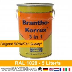 BRANTHO-KORRUX 3in1 Rostschutzfarbe RAL1028 Melonengelb 5 Liter