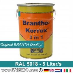 BRANTHO-KORRUX 3in1 Rostschutzfarbe RAL 5018 Türkisblau 5 Liter
