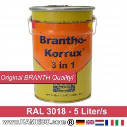 BRANTHO-KORRUX 3 in 1 Metallschutzlack / Korrosionsschutzlack RAL 3018 Erdbeerrot 5 Liter