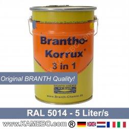 BRANTHO-KORRUX 3 in 1 Metallschutzlack / Korrosionsschutzlack RAL 5014 Taubenblau 5 Liter