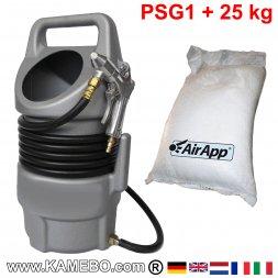 AirApp Sandstrahlgerät PSG1 + 25 kg Strahlmittel