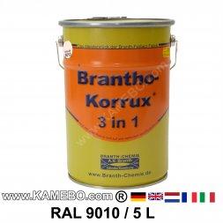BRANTHO-KORRUX 3in1 Rostschutzlack RAL 9010 Weiss 5 Liter
