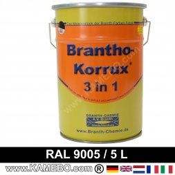 BRANTHO-KORRUX 3in1 Rostschutzlack RAL 9005 Schwarz 5 Liter
