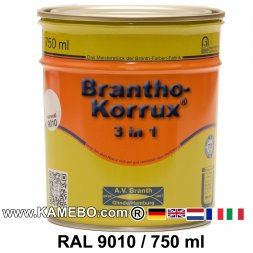 BRANTHO-KORRUX 3in1 Anti-Rust Coating RAL 9010 Pure white 750 ml