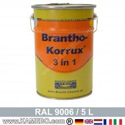 BRANTHO-KORRUX 3in1 Vernice Antiruggine RAL 9006 Alluminio brillante 5 Litri