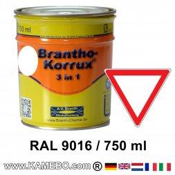 BRANTHO-KORRUX 3in1 Rostschutzlack RAL 9016 Verkehrsweiss 750 ml
