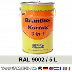 BRANTHO-KORRUX 3in1 Rostschutzlack RAL 9002 Grauweiss 5 Liter