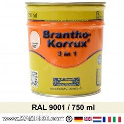 BRANTHO-KORRUX 3in1 Rostschutzlack RAL 9001 Cremeweiss 750 ml