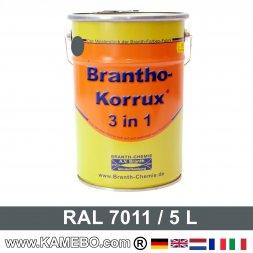 BRANTHO-KORRUX 3in1 Rostschutzlack RAL 7011 Eisengrau 5 Liter