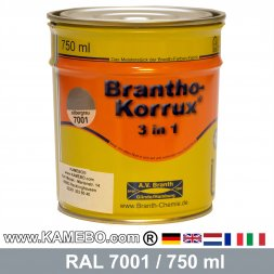 BRANTHO-KORRUX 3in1 Anti-Rust Coating RAL 7001 Silver grey 750 ml