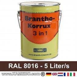 BRANTHO-KORRUX 3in1 Rostschutzlack RAL 8016 Mahagonibraun 5 Liter