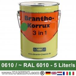 BRANTHO-KORRUX 3in1 Rostschutzlack RAL 6010 / 0610 Naturgrün 5 Liter