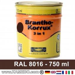 BRANTHO-KORRUX 3in1 Rostschutzlack RAL 8016 Mahagonibraun 750 ml