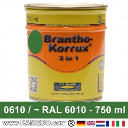 BRANTHO-KORRUX 3in1 Anti-Rust Coating RAL 6010 / 0610 Grass green 750 ml