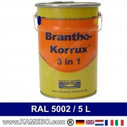 BRANTHO-KORRUX 3in1 Rostschutzlack RAL 5002 Ultramarinblau 5 Liter