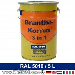 BRANTHO-KORRUX 3in1 Rostschutzlack RAL 5010 Enzianblau 5 Liter