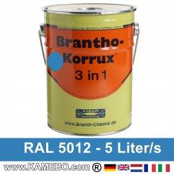 BRANTHO-KORRUX 3in1 Rostschutzlack RAL 5012 Lichtblau 5 Liter